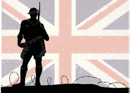 British Soldier with flag